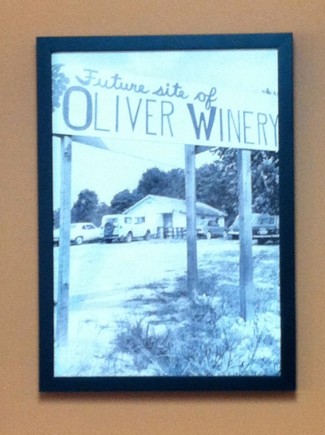 The Oliver Winery, 1970's photo displayed in the Wine Tasting Room - tangledpasta.net