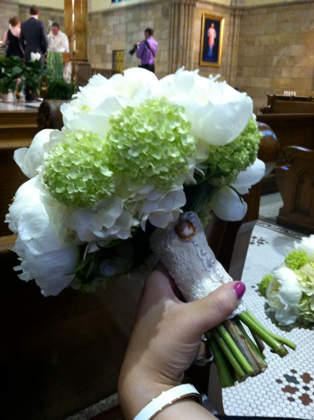 Lauren's bridal bouquet with my mother's cameo and her mother's wedding dress lace - tangledpasta.net