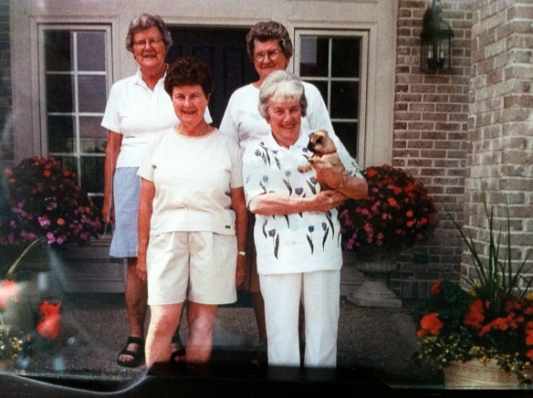Back row:  My mother Kitty, her sister-in-law Wilma. Front row:  My Aunts Agnes and Adelaide