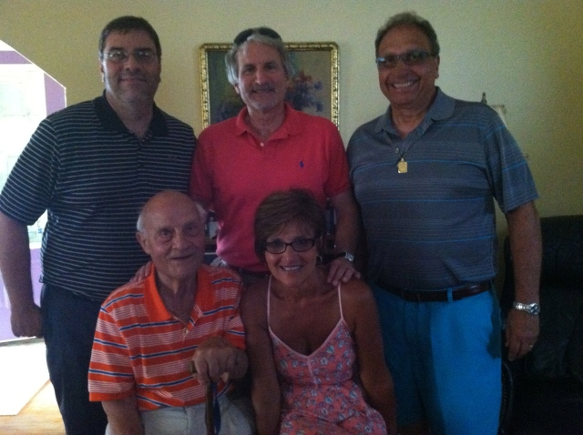 Cousins Tony, my brother Frank, Cousins Steve, Rita, and Zio Saverio at our Juy celebration-tangledpasta.net
