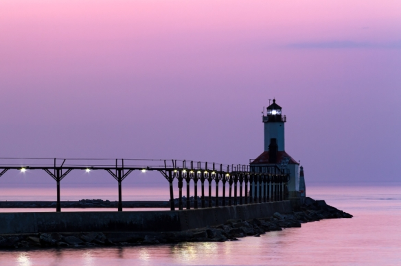 East Pier Light at twilight, Michigan City, IN - tangledpasta.net