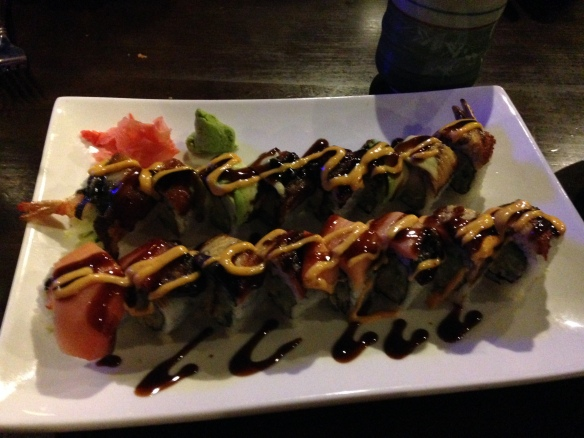 We dined on Angry Dragon and Firehouse sushi rolls to celebrate the end of the first semester of law school=tangledpasta.net