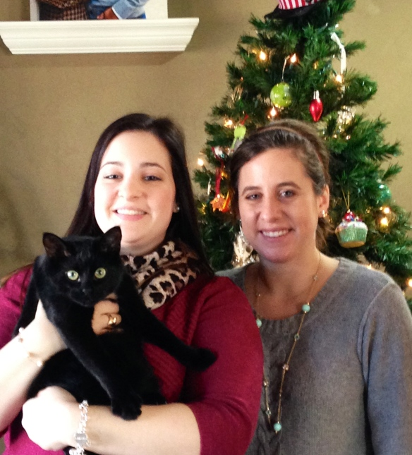 My daughter and my niece with Oliver the Christmas Cat - tangledpasta.net