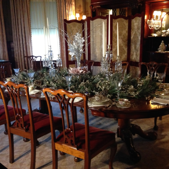 The formal dining room at Copshaholm at Christmas - tangledpasta.net