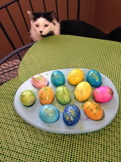 Coco Chanel inspects our newly dyed Easter eggs - tangledpasta.net