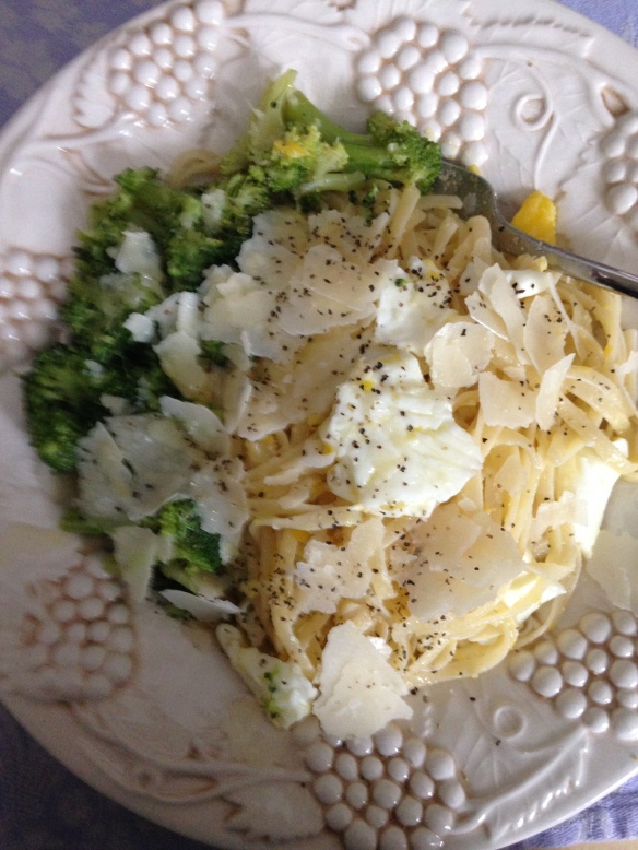 Pasta With Fried Eggs lends itself to different shapes of pasta-www.tangledpasta.net