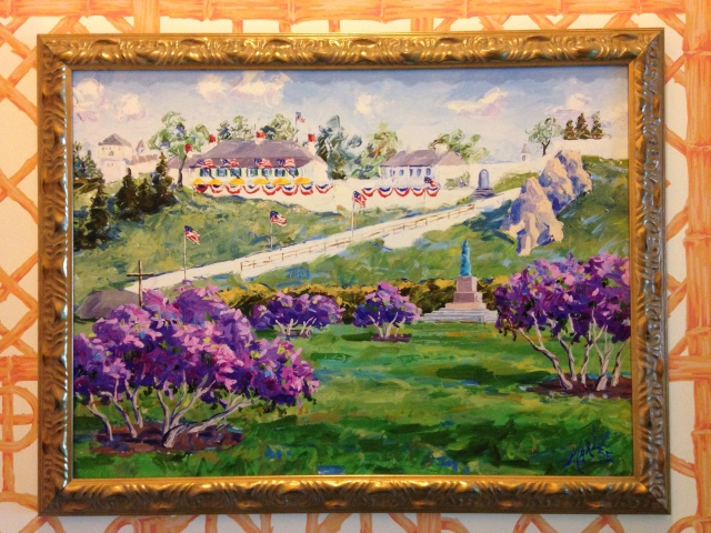 My aunt's proclivity to violets and purple came to mind with this painting in our room at The Grand Hotel, a place she cherishes.-www.tangledpasta.com