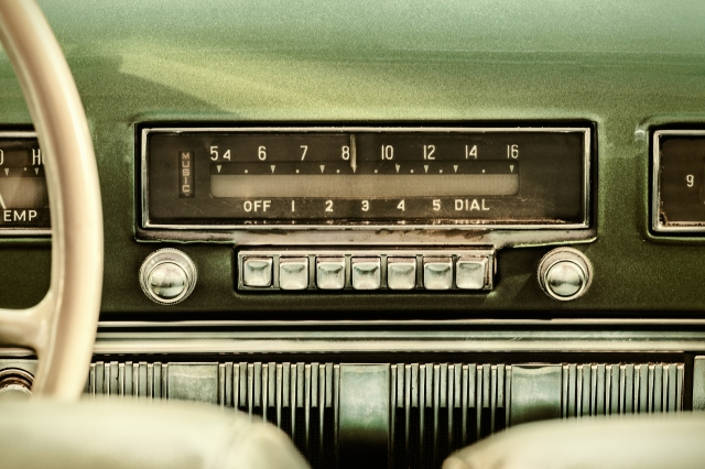 Retro styled image of an old car radio